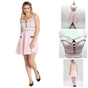 Hell Bunny Vanity Dotted Dress in Pink